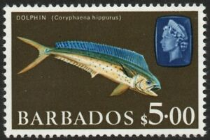 BARBADOS-1969 $5 Dolphin Fish Sg 355a UNMOUNTED MINT V48838