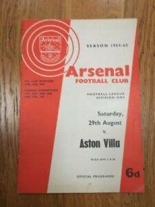 Arsenal v Aston Villa Football League Division One Programme 1964/65 Season