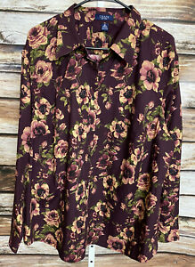 Chaps by Ralph Lauren Purple Floral Button Up Blouse Shirt Sz 3X New With Tags