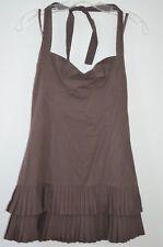 BCBG Max Azria Brown 58% Cotton Stretch Pleated Skirt Halter Dress Size 2