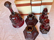 AVON 1876 Cape Cod Collection Ruby Red Glass BELL CANDLE SALT PEPPER w/ BOX LOT