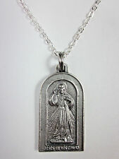 "Arched Divine Mercy / St Faustina Medal Italy Pendant Necklace 20"" Chain"