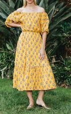 Rhode Resort Frida Off The Shoulder Yellow Midi Dress Floral Cotton XS NW 201989