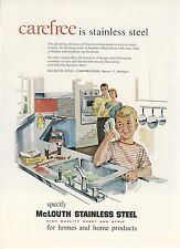 1959 McLouth Stainless Steel Sink Countertop Ad Mid Century Modern Kitchen