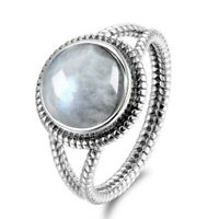 Fashion 925 Silver Lager Round Natural Rainbow Moonstone Wedding Ring Wholesale