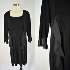 NWT SLINKY Brand Dress XL Stretch Travel Knit Chiffon Ruffle Trim Black Women's