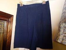 TALBOTS Ladies Navy Blue Size Medium Elastic Back Waist Shorts Cotton