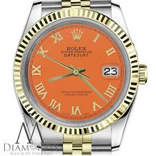 Holiday Season Pumpkin Orange Rolex 36mm Datejust 18K Gold 2 Tone Roman Numeral
