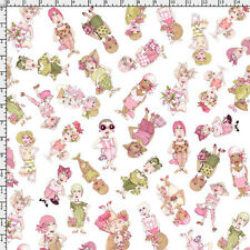 Loralie Fabric - On the Mend Breast Cancer Awareness Ladies Toss White YARD