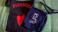 Shopper borsa shopping cotone nera tote messenger bag FIORUCCI x2 tracolla