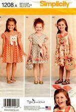 Simplicity Sewing Pattern 1208 Childs Dress Purses Headband 3-8 NEW