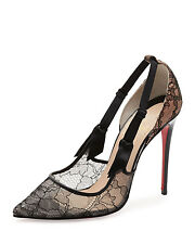 "NWOB Christian Louboutin ""Hot Jeanbi"" Black Lace Pump Heel Sz. 39 Rtls. $895.00"