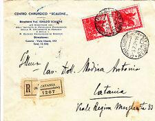 REGNO-Coppia 75c IMPERO(444)-Raccomandata viaggiata Catania x città 3.7.1939