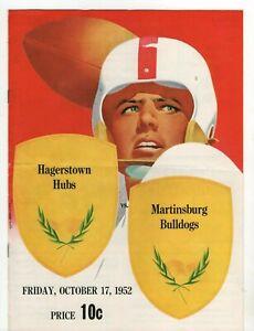 Hagerstown Hubs MD Vintage 1952 Football Program vs Martinsburg Bulldogs D1