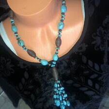 Cold Water Creek Beautiful Necklace With Turquoise & Brown Large Beads