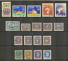 Canada #B1/O44, 1906-1976 BOB Back of Book Issues - 18 Different Cancelled/Used