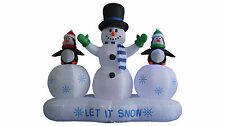 6' Christmas Air Blown LED Inflatable Yard Decoration Snowman & Penguins on Snow