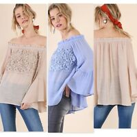 Umgee USA Ladies Flowy Off Shoulder Bell Sleeve Top Size S - L 2 Colors NWT