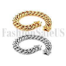 Hombre Plata Tono Oro Pulido pesado de acero inoxidable pulsera brazalete Cadenilla