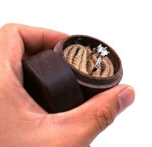 Wood Anneau Bearer Box Rustic Wedding Holder Jewelry Storage Case