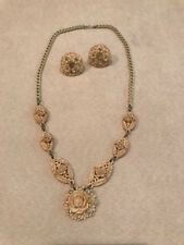 Early Plastic Demi Parure Earrings and Necklace Flowers Roses