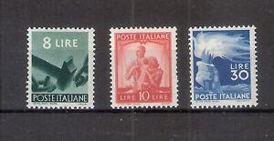 REPUBBLICA 1945 DEMOCRATICA 8-10-30 Lire Valore Nuovo MH Sassone 600,00 Euro
