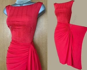 Karen Millen UK 10 Red Jersey Fit and Flare Side Detail Evening Party Prom Dress