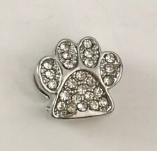 Silver Cz Pave Paw Print Pet Dog Cat Charm For Bracelets Plated