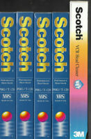 NEW SCOTCH T-120 6 Hour Blank VHS Video Cassette Tapes & HEAD CLEANER LOT SEALED