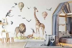 Big Animal Watercolor Wall Decal Set for kids, removable cute safari animals