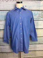 Brooks Brothers 346 Button Down Shirt Men's Sz 17 2/3 Blue EUC