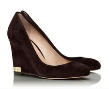 Tory Burch Astoria Suede Wedge Pump Chocolate Brown Size 11 New