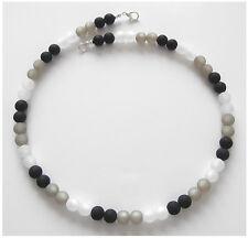 Halskette aus echten Polarisperlen schwarz grau weiß Polaris Perlen Kette NEU.