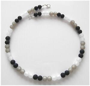Halskette aus echten Polarisperlen schwarz grau weiß weiss Perlen Kette S.O.L