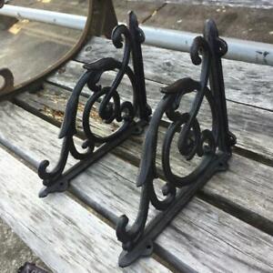6 Cast Iron Antique Style SM Fat IVY SCROLL Brackets Garden Braces Shelf Bracket