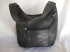 Tignanello Women's Handbag Black Leather Satchel Shoulder Bag Silver Hardware