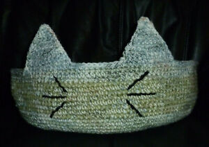 Crochet Cat Bed LARGE 17 Inches Hand Made In the USA Heather Green Colors