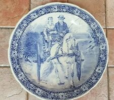 """13.7"""" Cabinet Wall Charger Platter Boch Delft Blue White Large Dish Horse"""