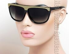 Large Flat Top Vintage Style Hipster Sunglasses Smoke Gold Foil Black K00