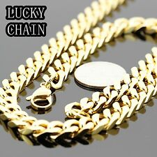 """24"""" STAINLESS STEEL GOLD CUBAN CURB CHAIN NECKLACE BRACELET 9mm 130g IP19"""