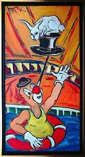 Clown show Highlight Zirkus 100x50 cm 1977 Gemälde Felix Samuel Pfefferkorn*1945
