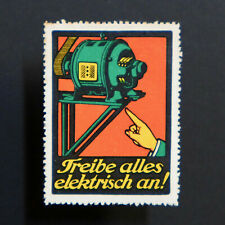 Poster Stamp * GERMANY * Electrify Everything! Electricity Label • Cinderella