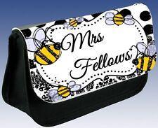 Personalised LADIES SCHOOL TEACHER Thank You Bee Pencil Case Makeup Bag Gift