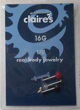 piece Labret retainer Body Piercing Jewelry claire's bD ad 16g Uv black red 4