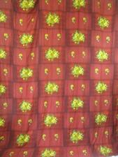 Vintage 70's Dark Red Floral Fabric Large Curtain Piece Mid-Century Retro