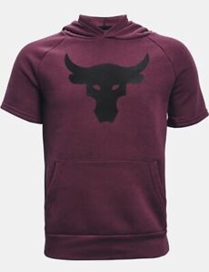 Under Armour Boys' UA Project Rock Rival Short Sleeve Hoodie. Level Purple