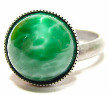 Soho ® anillo vintage jade verde bastones hecha a mano de vidrio piedras 1960´s Bohemia