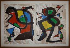 Joan Miro 1984 ORIGINAL WOODCUT PRINT Miró surrealism abstract artwork red black