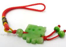 Chinese FU Feng Shui Lucky Wealth Green Jade Key Ring Charm Amulet Good Fortune
