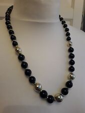 Black & Gold Tone Beaded Necklace